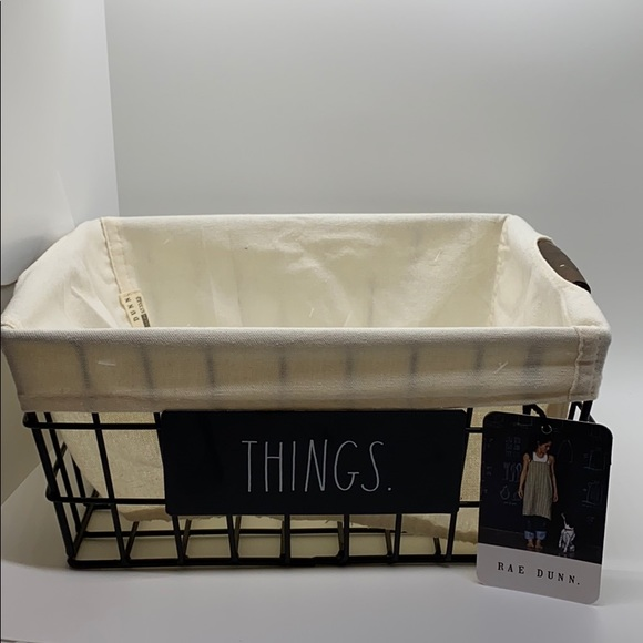 "NEW RAE DUNN ""THINGS"" WIRE AND LINEN BASKET!!"